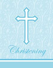 **RELIGIOUS** Pack of 8 Faith Classic Blue Christening Invitations & Envelopes!