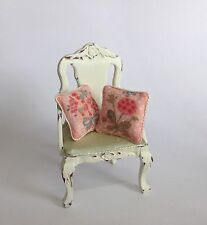 Set Of 2 Piped Pink Multi Floral Miniature Cushions dolls house 12th Scale
