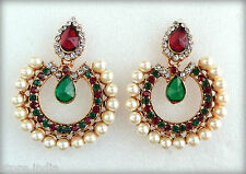 Indian Bollywood Pearls Red Green Gold Plated Earrings Wedding Party Jewellery