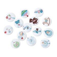 25 CUTE BABY WOODEN PAINTED BUTTONS 18mm Sewing~Baby Shower~Knitting~Cards (48C)