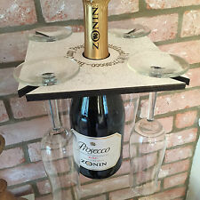White Sparkle Prosecco Glass Holder  holds 4 glasses and bottle Shitface