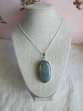 ~ Natural Labradorite Gemstone Pendant & Silver Plated Chain ~ Necklace ~
