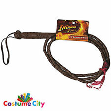 Official Indiana Jones 6 foot Leather Bull Whip Fancy Dress Costume Accessory