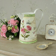 Metal Cream Green Paris Jug Floral Shabby Vintage Chic Flowers Gift Kitchen Home