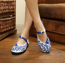 Women's Shoes Flats Embroidery Lace-up Sexy White/Blue Canvas Size 37/38/39