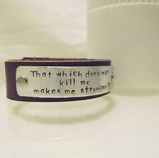 "Inspirational Personalised ""..makes me stronger..."" Real Leather Cuff Bracelet"