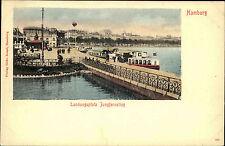 Hamburg um 1900 AK color Postkarte Schiff Schiffe Landungsplatz Jungfernstieg