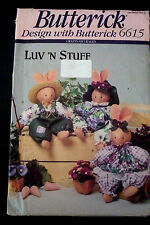 BUTTERICK 6615 SEWING PATTERN CUDDLY TOYS SWEET VIOLETS BUNNIES & OUTFITS  UNCUT