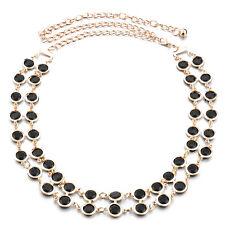 Womens Gold 2 Row Black Beads Ladies Waist Chain Metal Belt Buckle Fashion 118