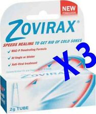 3 X Zovirax 2g tube cold sore cream