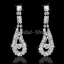 Silver Diamante Crystal Rhinestone Peacock Feather Dangle Earrings Wedding Prom
