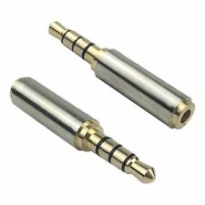 Gold 2.5mm Female to 3.5mm Male Stereo Audio Headphone Jack Adapter AUX Socket