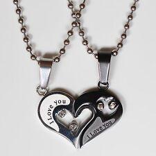 2 Partnerketten Edelstahl Anhänger Halskette Freundschaft Strass Herz Silber 1