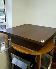 Large Dark Wood Colour Sliding Top Square Coffee Table With Storage Ref 0086