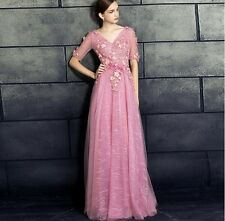 Women Long Chiffon Formal Lace Party Cocktail Evening Prom Wedding maxi Dress