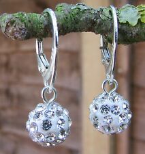 925 STERLING SILVER EARRINGS WITH SWAROVSKI ELEMENTS-Crystal 10mm Ball