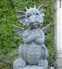 Gartenfigur Drache schmollt Dekoration Frostfest Fantasy Gothic Deko NEU