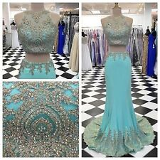 Two Piece Mermaid Beading Long Prom Party Dress 2017 Crystal Evening Gown Custom