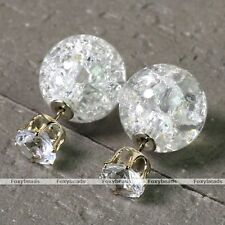 2x Clear Crystal Glass Double Sided Cubic Zirconia Stud Bead Celebrity Earring