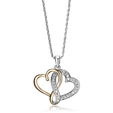 Heart to Heart 18ct Yellow Gold Plated CZ Necklace/Pendant-Bridal Jewellery