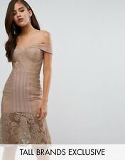NEW Jarlo Tall Off Shoulder All Over Lace Pencil Dress, Mushroom, Size 8 RRP £85