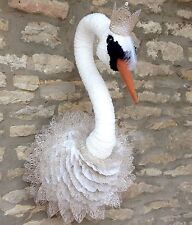 Handmade swan princess faux taxidermy ivory wall mounted animal head trophy