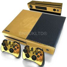Gold Glossy Skin Sticker For Xbox ONE Console Controller + Kinect Decal Vinyl