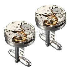 WATCH MOVEMENT MEN'S STEAMPUNK VINTAGE SILVER CUFFLINKS CUFF LINKS WEDDING GIFT