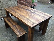 Dining Table/kitchen Table Reclaimed Pine Wood/timber With 2 Bench Seats  170cm