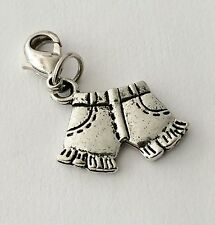 LOVELY SILVER SHORTS CLIP ON CHARM FOR BRACELETS - TIBETIAN SILVER - NEW