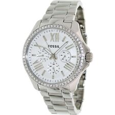 FOSSIL Uhr AM4481 CECILE Damen Edelstahl Silber Armbanduhr m. Kristallen Datum