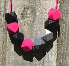 Funky Handmade Hot Pink Silver Grey Black Geometric Wooden Bead Necklace. NEW
