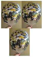 Clear Confetti Balloons Gold Silver Black Party Supplies Decorations -Pack of 3