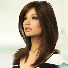 WOMEN DARK BROWN LONG STRAIGHT PARTIAL BANGS FULL WIG PARTY HAIR NEW GIFT