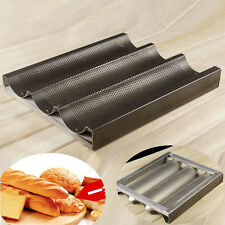 1 X Nonstick 3 Loaf Baguette Mold New French Bread Pan Bake Tray Black Bakeware