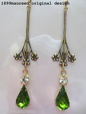 Art Nouveau Art Deco earrings peridot green 1920s Edwardian vintage style long