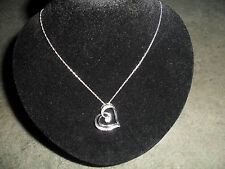 Sterling Silver Heart Design Diamond Pendant.