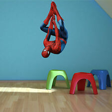 Spiderman Upside Down Wall Art Sticker Boys Bedroom Superhero Decal Mural Print