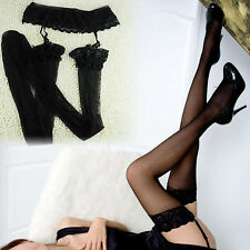 Women Sheer Lace Top Non-slip Thigh High Stockings Hold-up Pull up Stay up