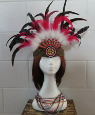 Hand crafted Native American Indian Squaw Headdress - Beaded necklace to match
