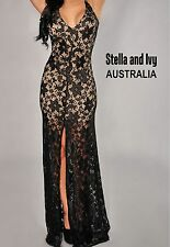 women cocktail party evening illusion maxi dress black size 10 new