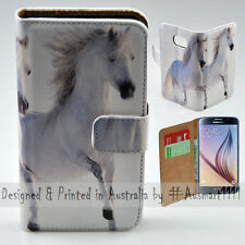 Wallet Phone Case Flip Cover for Samsung Galaxy S6 - Two White Horses Print