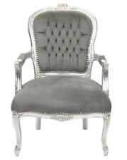 French Louis Chair In Grey Velvet With Silver Wooden Frame