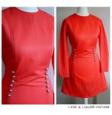 MOD vtg 1960s ORANGE CRIMPLENE SILVER BUTTON RETRO SHIFT DRESS 10 GOGO