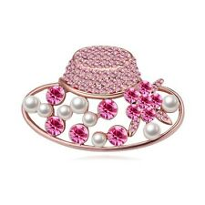 18K ROSE GOLD PLATED AND GENUINE PINK SWAROVSKI CRYSTAL & PEARL HAT  BROOCH