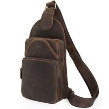 New Men's Real Leather Hiking Shoulder Bag Crossbody Sling One Strap Backpack