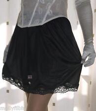 Black silky nylon gloss lace petticoat mini half slip underskirt lingerie BNIP