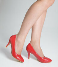 Ladies Womens Mid Heel Court Shoe / Office / Formal Shoes - Red - UK Size 4