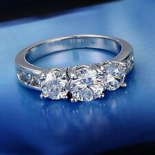 Wedding Engagement Bride White Gold Filled Womens Lady 18K CZ #7 Ring Jewellery
