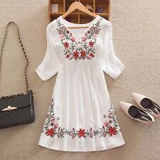New Fashion Women's V-neck Casual Embroidered Floral A-linen Short Mini Dress